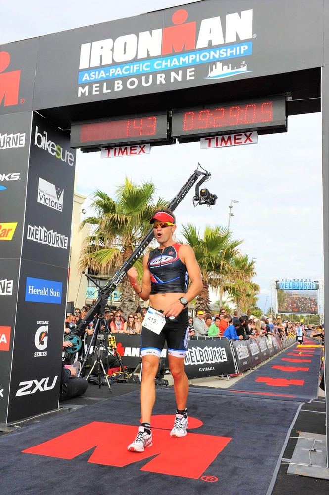 Ironman Melbourne part time at the finish line!