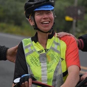 At the finish, 2018 Race Across Oregon