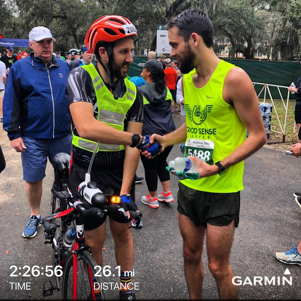 This past weekend I had the honor of pacing the lead runner during the Charleston marathon. I, of course, repped Flo with my 90 on the Felt.