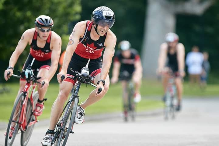 Great battle on the bike with one of my team mates at the 2019 Canadian Armed Forces Triathlon Championships.