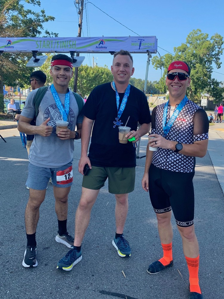 Team ASM-R with post race coffees after the New River Splash Sprint Triathlon. We took first (But were also the only relay team).