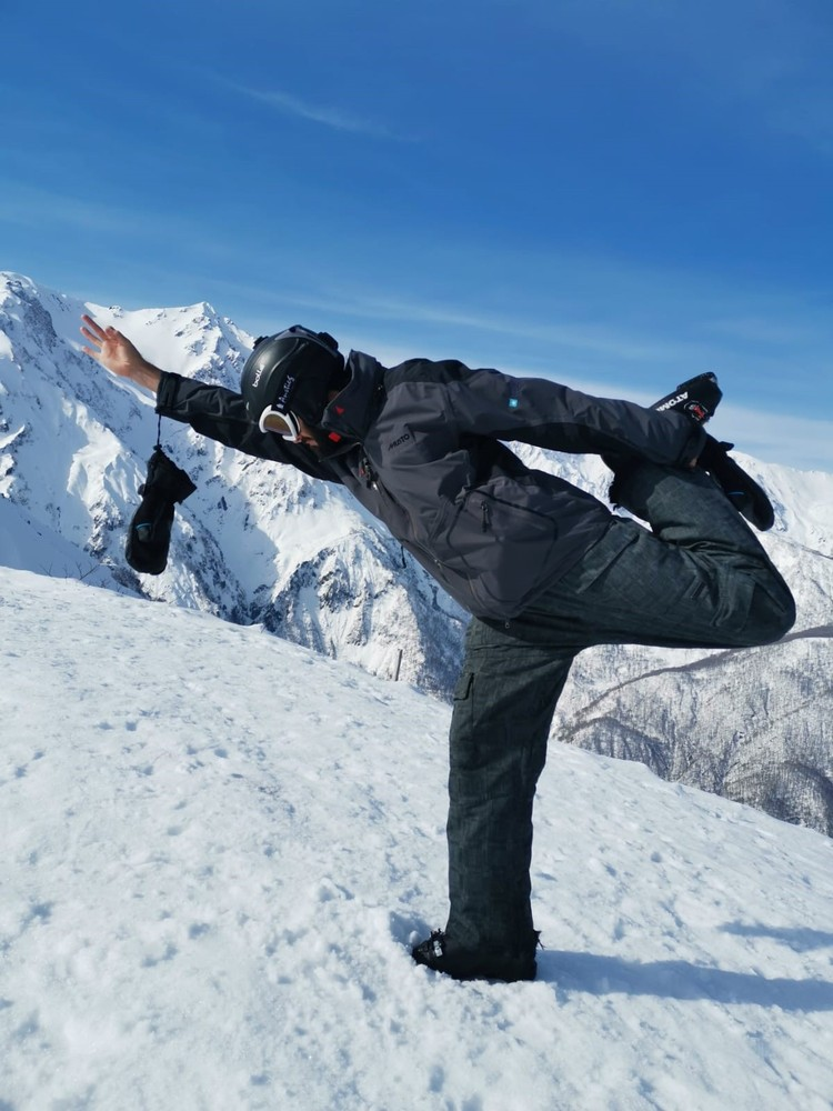 February Team Challenge - Practicing my yoga at the top of Happo One, Hakuba, Japan. Altitube 1831m